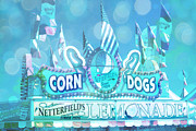 Summer Festival Art Posters - Carnival Festival Photos - Dreamy Teal Aqua Blue Carnival Festival Fair Corn Dog Lemonade Stand Poster by Kathy Fornal