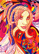 Curls Drawings Posters - Carnival Girl Poster by Danielle R T Haney