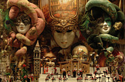 Venice Photo Prints - Carnival Masks 2 Print by Bob Christopher