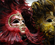 Venice Tour Prints - Carnival Masks Venice Italy Print by Bob Christopher