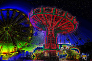Amusement Rides Posters - Carnival night A childs memory Poster by David Lee Thompson