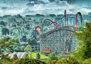 Theme Park Prints - Carnival - The thrill ride Print by Mike Savad