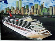Navigation Paintings - Carnival Triumph New York by Kenneth Harris