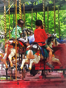 Merry-go-round Prints - Carnivals - Friends on the Merry-Go-Round Print by Susan Savad