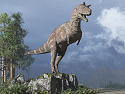 Alertness Digital Art - Carnotaurus On Rock Looking by Craig Brown