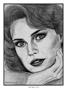 Closeups Drawings Framed Prints - Carol Alt in 1985 Framed Print by J McCombie