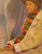 Shawl Painting Originals - Carol in Winter by Irena  Jablonski