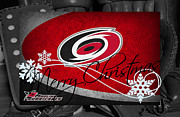 Skating Posters - Carolina Hurricanes Christmas Poster by Joe Hamilton
