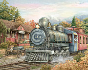 Train Depot Posters - Carolina Morning Train Poster by Beverly Levi-Parker