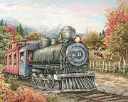 Train Mixed Media Prints - Carolina Southbound Print by Beverly Levi-Parker