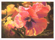 Yellow Flowers Pastels Posters - Carolines Pansies Poster by Harriett Masterson
