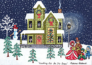 Folk Art Paintings - Caroling Out In The Snow by Medana Gabbard