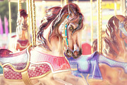Little Girls Framed Prints - Carousel  Framed Print by Amy Tyler