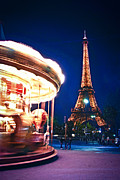 Nighttime Prints - Carousel and Eiffel tower Print by Elena Elisseeva