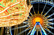 Muenchen Framed Prints - Carousel and Ferries Wheel at Night at the Octoberfest in Munich Framed Print by Sabine Jacobs