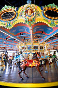 Carnival Metal Prints - Carousel at Kennywood Park Pittsburgh Pennsylvania Metal Print by Amy Cicconi