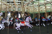 Roller Coaster Photos - Carousel At Santa Cruz Beach Boardwalk California 5D23632 by Wingsdomain Art and Photography