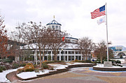 Chattanooga Tennessee Photos - Carousel Building in the Snow by Tom and Pat Cory