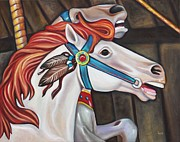 Carousel Horse Painting Framed Prints - Carousel Chief Framed Print by Eve  Wheeler