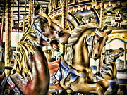 Amusement Parks Posters - Carousel Poster by Colleen Kammerer