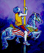 Merry-go-round Painting Originals - Carousel by Derrick Higgins