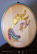 Leaf Pyrography Originals - Carousel Flying Mane Illions by Linda Layton