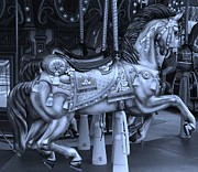 Carrousels Prints - CAROUSEL HORSE in CYAN Print by Rob Hans
