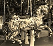 Carrousels Prints - CAROUSEL HORSE in SEPIA Print by Rob Hans