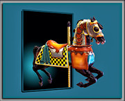 Out Of Bounds Prints - Carousel Horse Left Side Print by Thomas Woolworth