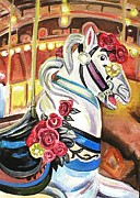 Seaside Heights Painting Prints - Carousel Horse Print by Melinda Saminski