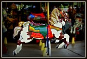 Amusements Framed Prints - Carousel Horse Framed Print by Suzanne Stout