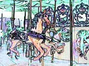 Handcrafted Art - Carousel Horses I by Annie Zeno