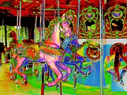 Handcrafted Art - Carousel Horses III by Annie Zeno