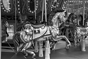 Carrousels Prints - CAROUSEL in BLACK AND WHITE 2 Print by Rob Hans