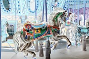 Carrousels Prints - CAROUSEL in NEGATIVE COLOR Print by Rob Hans
