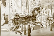 Carrousels Prints - CAROUSEL in NEGATIVE SEPIA Print by Rob Hans