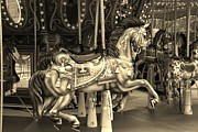 Carrousels Prints - CAROUSEL in SEPIA Print by Rob Hans