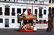 Kids Prints Photo Framed Prints - Carousel in Venice Framed Print by John Rizzuto