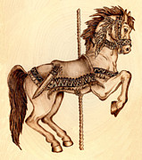 Indian Pyrography Framed Prints - Carousel Indian Pony Framed Print by Danette Smith