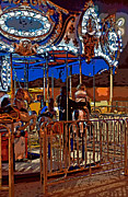 Bonding Digital Art Metal Prints - Carousel line art Metal Print by Steve Harrington