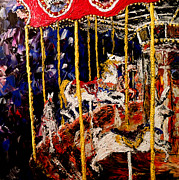 Amusement Park Ride Painting Originals - Carousel  Main Attraction  by Mark Moore