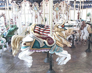 Baby Room Framed Prints - Carousel Merry Go Round Horses - Dreamy Baby Blue Carousel Horses Carnival Ride and American Flag Framed Print by Kathy Fornal