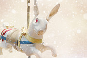 Round Posters - Carousel Photography - Rabbit Wall Art - Baby Girl Nursery Art - Baby Boy Nursery Art - SNOW BUNNY Poster by Amy Tyler
