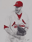 World Series Drawings Prints - Carp Print by Robbie Douglas