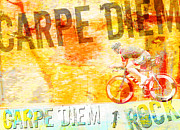Bicycle Collage Prints - Carpe Diem Biker Print by Adspice Studios