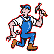 Runner Digital Art - Carpenter Builder Hammer Running Cartoon by Aloysius Patrimonio