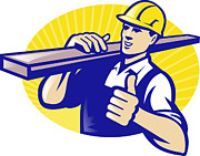 Overalls Posters - Carpenter Builder Worker Thumbs Up Poster by Aloysius Patrimonio