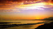 Sunset In Waves Framed Prints - Carpinteria Sunset Framed Print by Ron Regalado