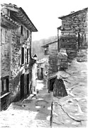 Pavement Drawings Prints - Carrer Fossar de Rupit Print by Jose Miguel COLLADO