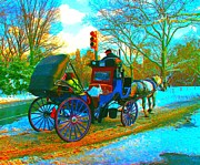 Cities Pastels Posters - Carriage In The Park Poster by Dan Hilsenrath